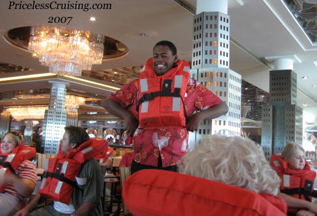 Crew Member Leading Muster Drill