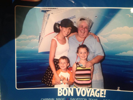 Sarah, Sharon, Addison and Aiden boarding the Carnival Magic