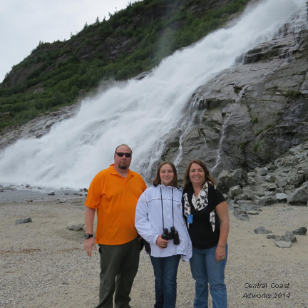 Tom, Gabby and Janet at Mendenhall Glacier 2014