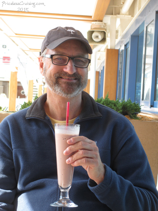 Enjoying a Smoothie at Waves Grill