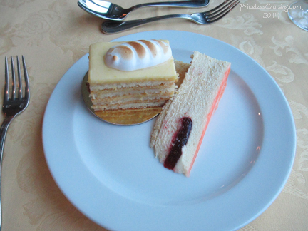 Terrace Grill Lemon Cake and White Chocolate Cheesecake with Raspberry Filling