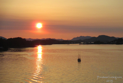 Sunset as we sailed from Sitka